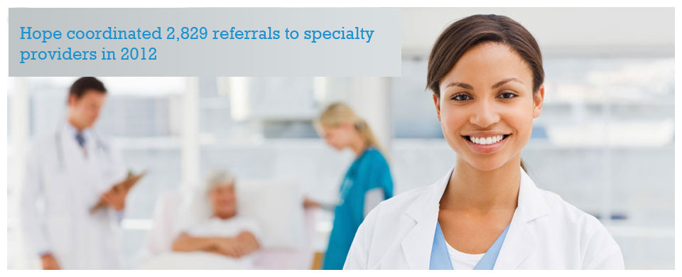 Hope coordinated 2,829 referrals to specialty providers in 2012